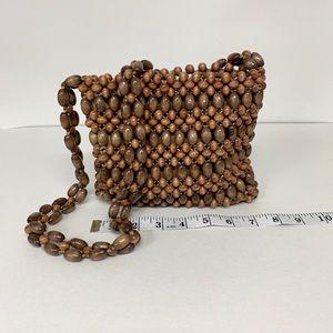 Vintage wood beaded purse 1970's ?